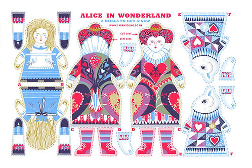 Alice in Wonderland Tea Towel/Fabric Kit