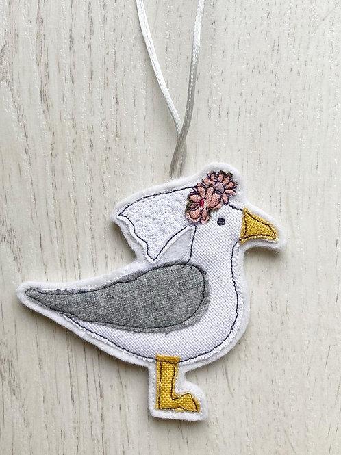Cornish Seagull Bride - Fabric Decoration
