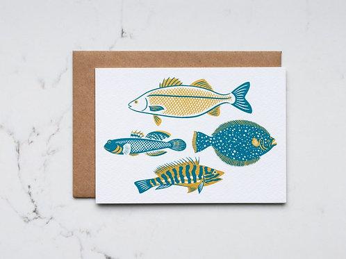 British Fish Greeting Card - Teal
