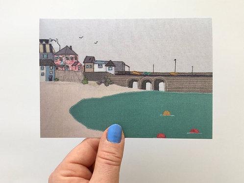 St Ives Harbour Textile Print card