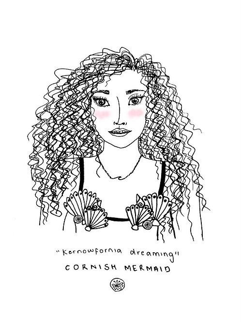 Cornish Mermaid A4 Print