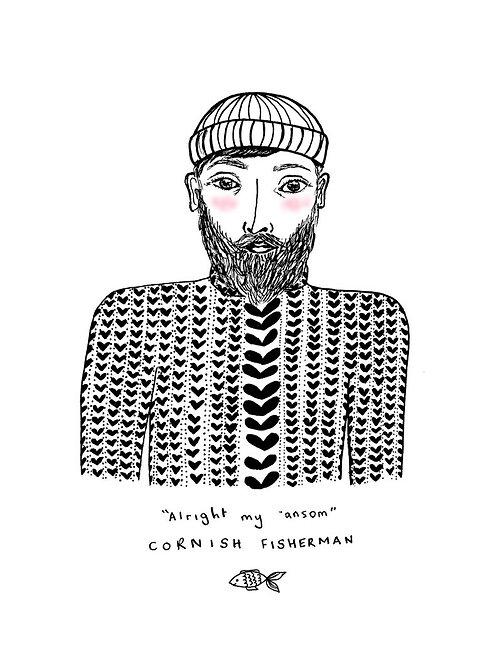 Cornish Fisherman A5 Print