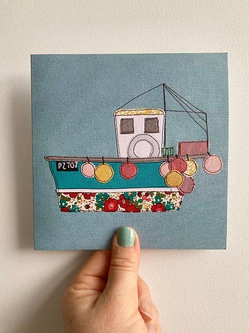 Cornish Fishing Boat Card