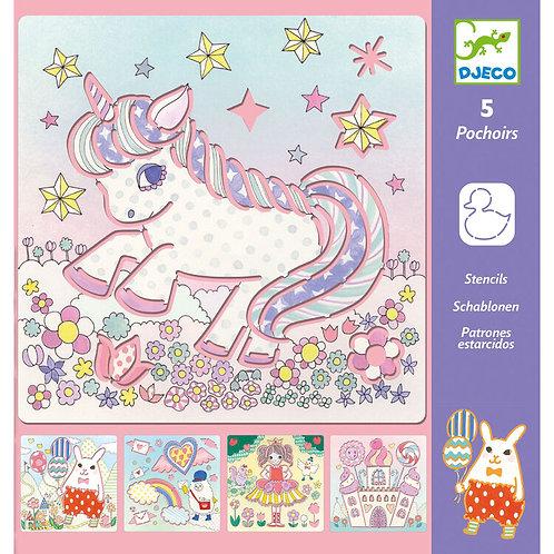 DJECO Stencil Set - Unicorn and Kawaii Friends