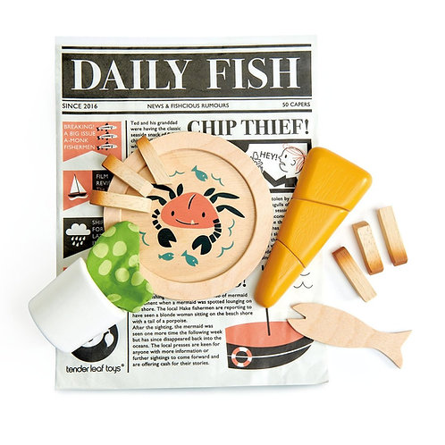 Wooden Play Fish and Chips Supper Set