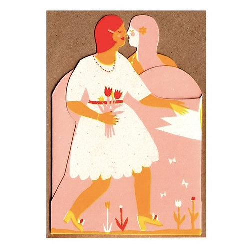 Two Women: Concertina Heart Card