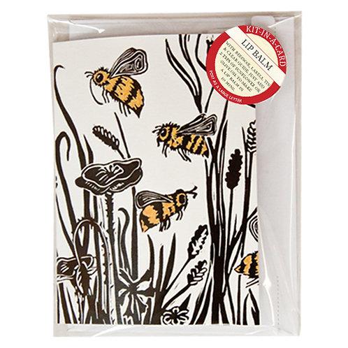 Mini Lip Balm Making Kit in Cornfield Bees Card