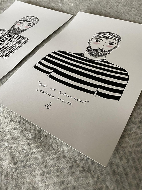 Cornish Sailor A4 Print