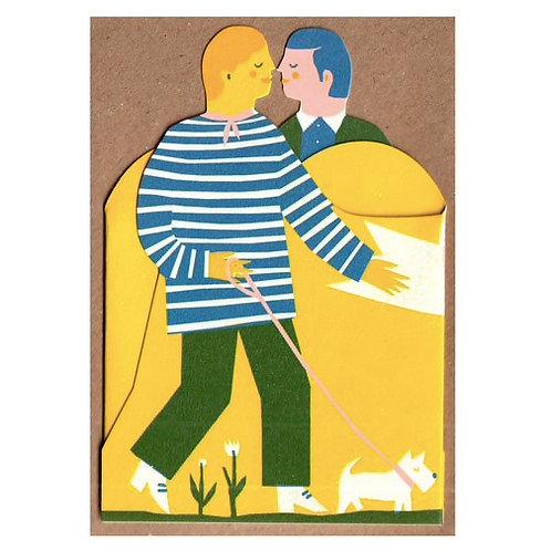 Two Men: Concertina Heart Card