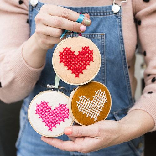 3 X Heart Hoop Cross Stitch Embroidery Hoop Kit