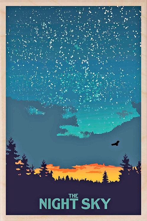 Night Sky Wooden Postcard