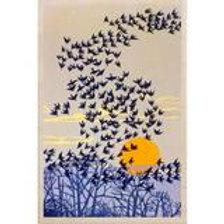 Sparrows Wooden Postcard