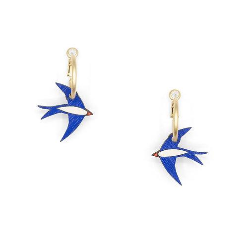 Navy Swallow Earrings