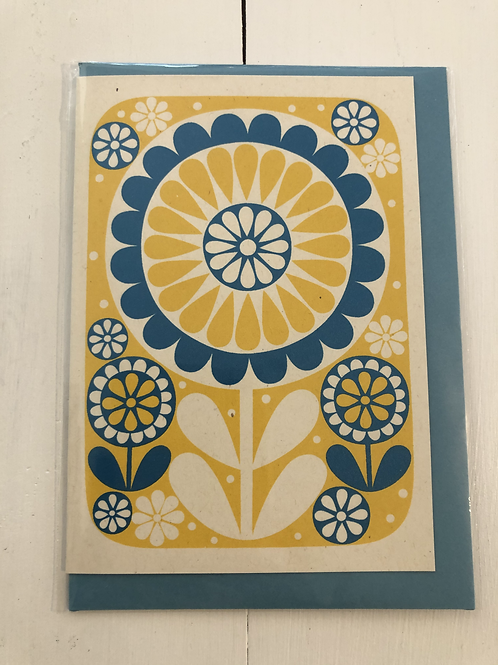 Blue and Yellow Flower Card