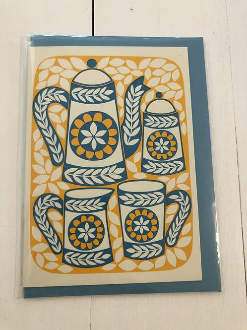 Coffee Pot - Screen Printed Card