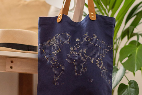 Navy Stitch Tote Bag