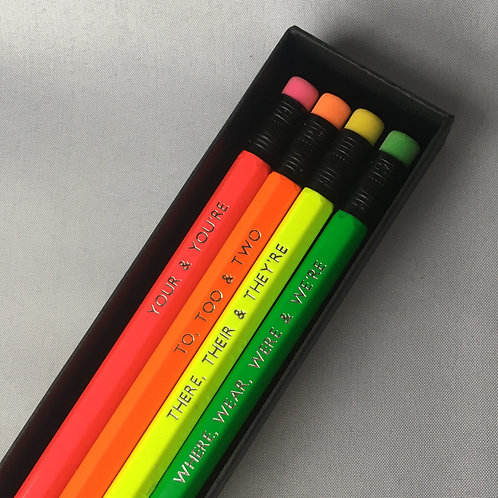 Neon Grammar Pencil Box Set