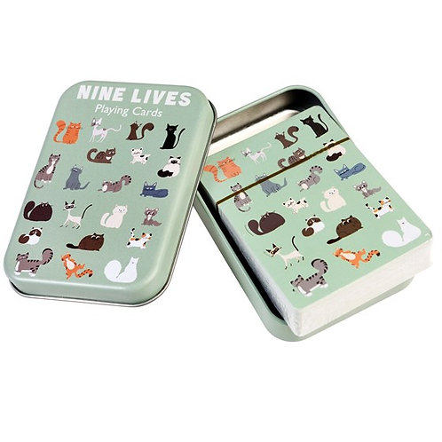 Nine Lives Playing Cards in a Tin