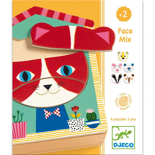 DJECO Wooden Puzzle Face Mix