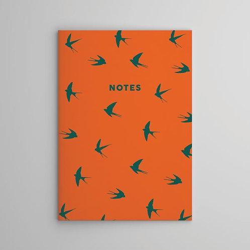 Orange Swallow Notebook