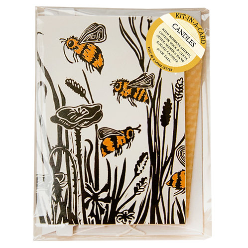 Mini Candle Rolling Kit in Cornfield Bees Card