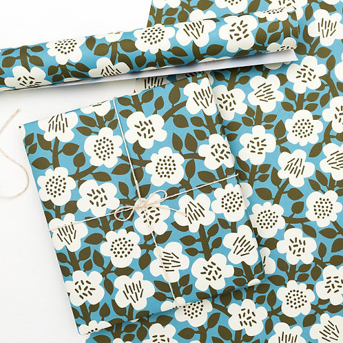 Teal Flower Wrapping Paper