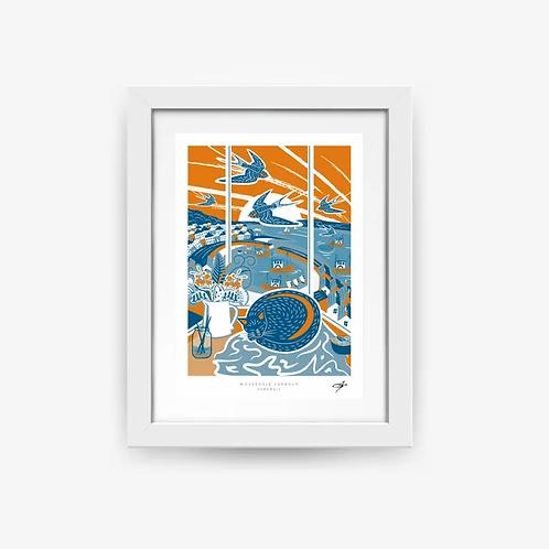 Mousehole Harbour A4 Print
