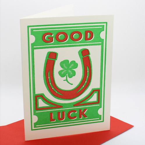 Good Luck Letterpress Card