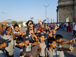 Ian Erix with youth in India