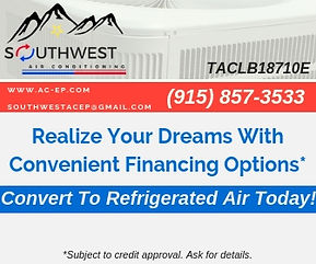 Call now for professional HVAC services including AC and heating repair in El Paso, Socorro, Horizon City, TX and surrounding areas. Southwest Air Conditioning has been providing quality HVAC services for El Paso since 1992. Financing El Paso, TX