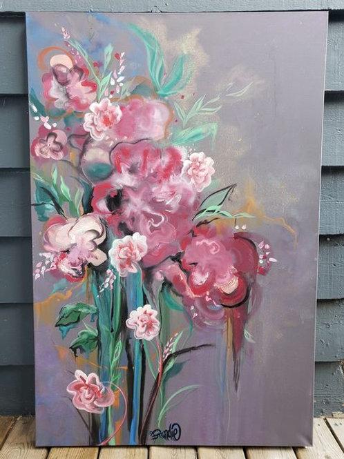 """Floral Canvas 48"""" x 32"""""""