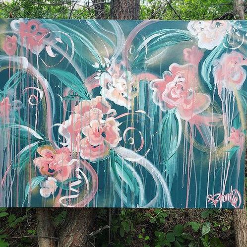"""Bloomin"" Acrylic Canvas 32"" x 48"""