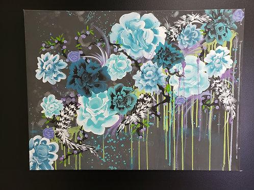 """Floral Acrylic Canvas 32"""" x 24"""""""