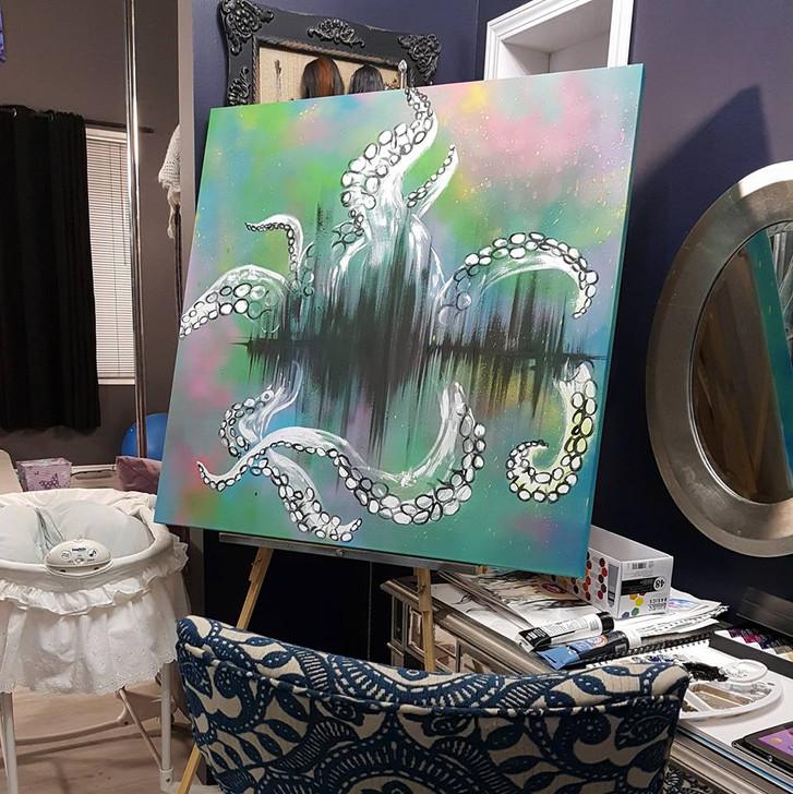Spray Paint and Acrylic Canvas