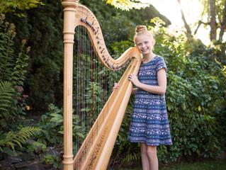 Mini Session: A Big Milestone for a Young Harpist . Mukilteo, WA