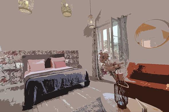 aquarelle-chambre-hotes-manche-coralline