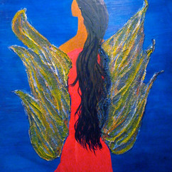 JOPHIEL: BEAUTY OF GOD (WINGED WOMAN #2) 18 X 24 ACRYLIC AND BEADED GLASS ON WOOD COLLECTION OF R. ROJAS