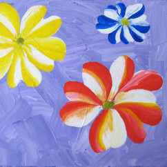 PINWHEEL FLORES 24 X 18 ACRYLIC ON CANVAS COLLECTION OF R. UGALE