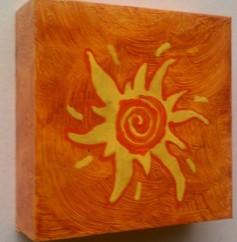 SUN DAY 6 X 6  ACRYLIC ON CRADLED WOOD COLLECTION OF S. JACKSON