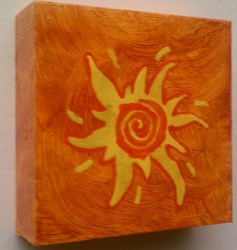 SUN DAY 6 X 6  ACRYLIC ON CRADLED WOOD COLLECTION OF S. JACKSON