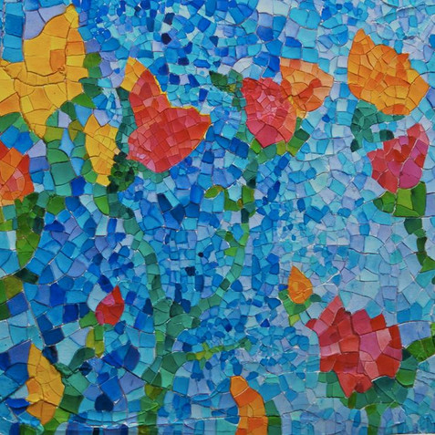 FAUXSAIC CASCADE 24 X 18 ACRYLIC ON WOOD COLLECTION OF N. ANDRE