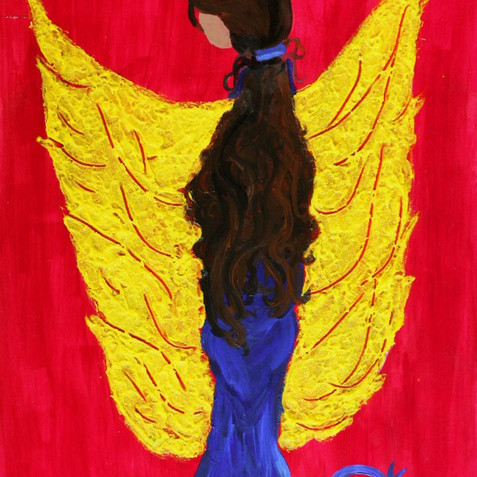WINGED WOMAN 18 x 24  ACRYLIC AND GLASS ON WOOD PRIVATE COLLECTOR