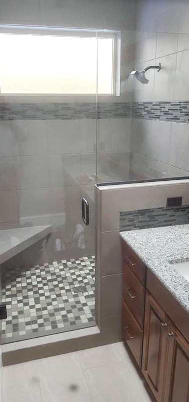 Frameless Shower Door and Panel with Channel