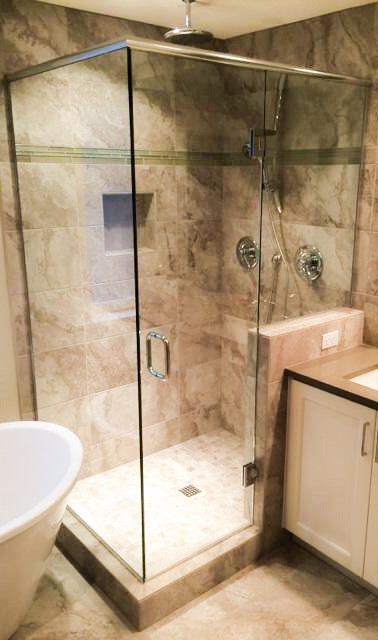 Frameless 3 Unit Shower with Header and Door Hinged Off Panel, Channel