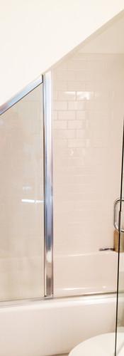 Angled Semi-Frameless Chrome Shower