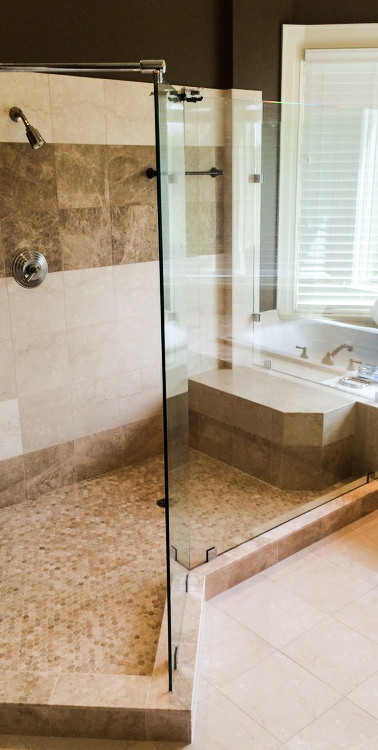 Unique Frameless Shower with Clamps and Support Bar