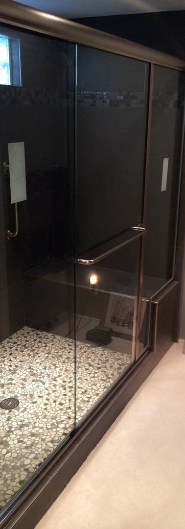 Euro Slider with Inline Fixed Panel-Brushed Nickel