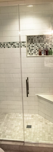Frameless Shower door and Panel with Channel, Ladder Handle
