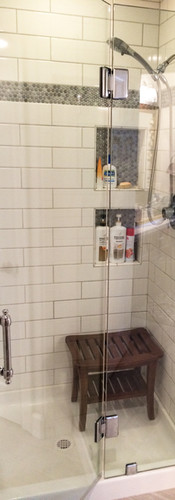 Frameless Shower with Cut Out