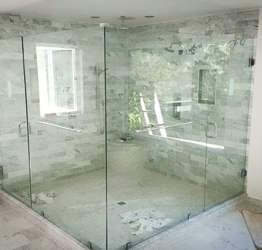 Frameless Large Duel Shower with Towel Bars